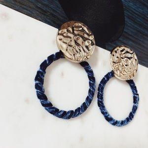 🆕Anya Blue Velvet Hoop Earrings